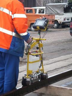 Ultraschallprüfung an den historischen Gleisanlagen
