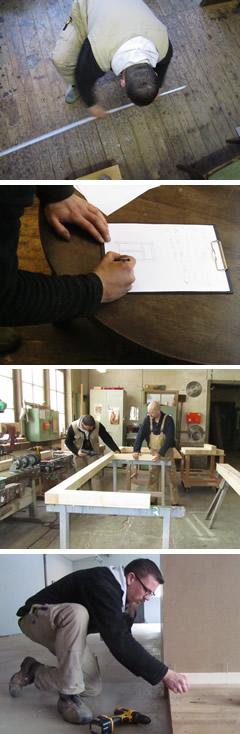 Herr Sauerbrey bei der Arbeit für die Ausstellung zur Schuhmacherwerkstatt Oberle