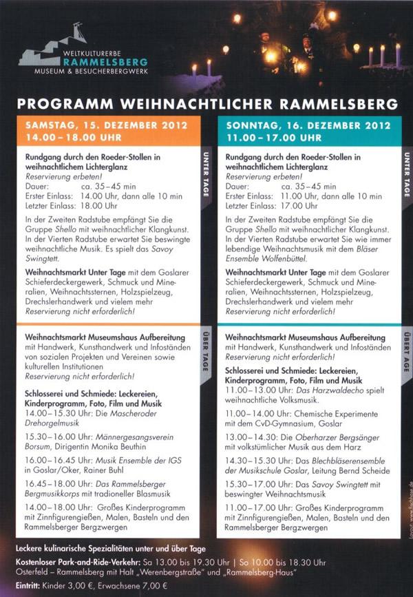 Programm zu der Veranstaltung: Weihnachtlicher Rammelsberg