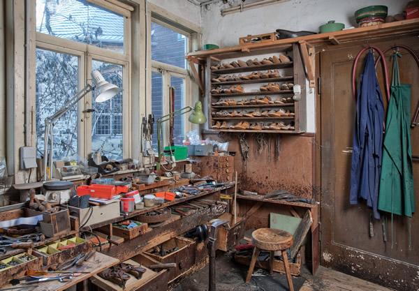 Schuhmacherwerkstatt Oberle am ursprünglichen Standort im Frankenberger Viertel