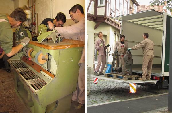 Arbeiten beim Translozieren der Schuhmacherwerkstatt Oberle - 1