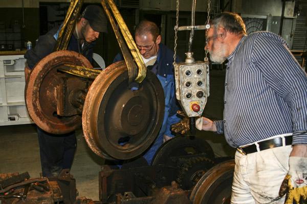 Arbeitsgruppe Restaurierung am Rammelsberg bei der Arbeit