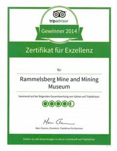 Urkunde TripAdvisor Exzellenz 2014