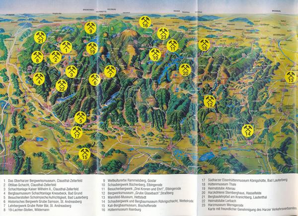 Karte mit Verzeichnis der Bergbaumuseen im Harz